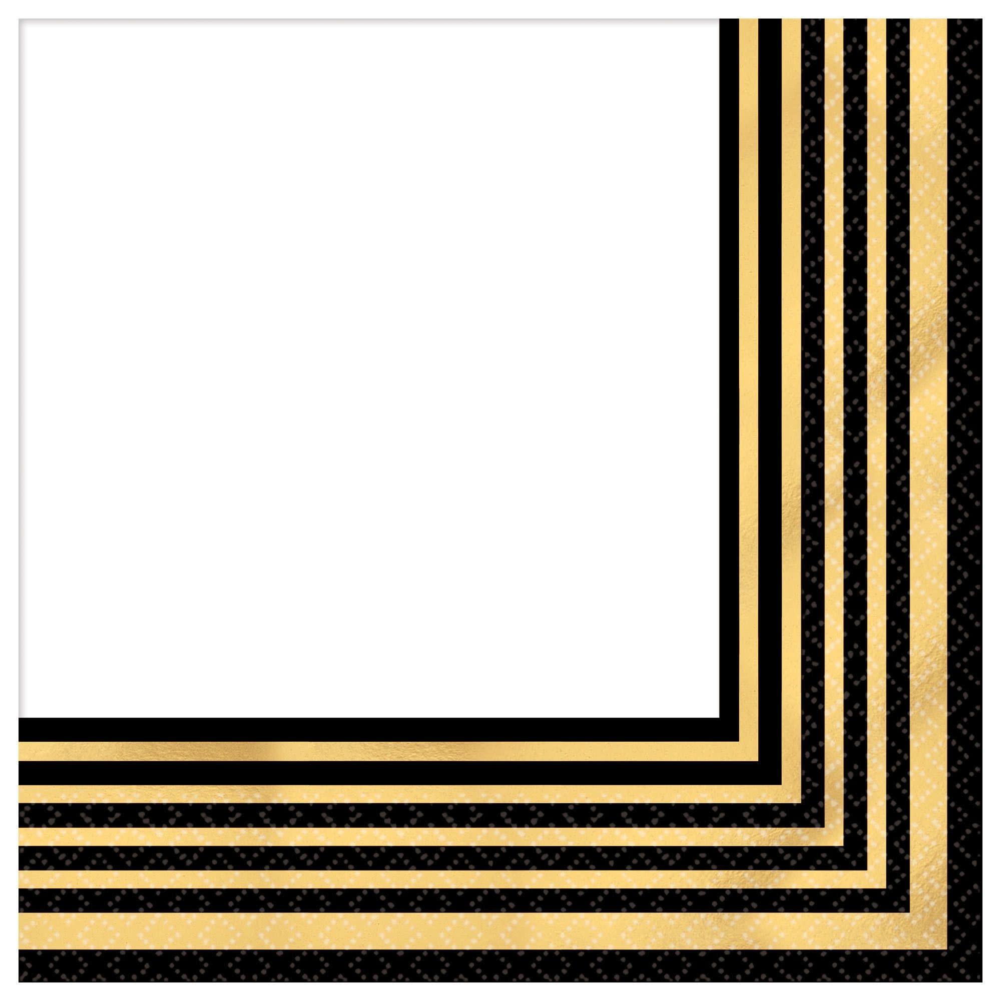 Gold Stripe Beverage Napkins - Hot-Stamped