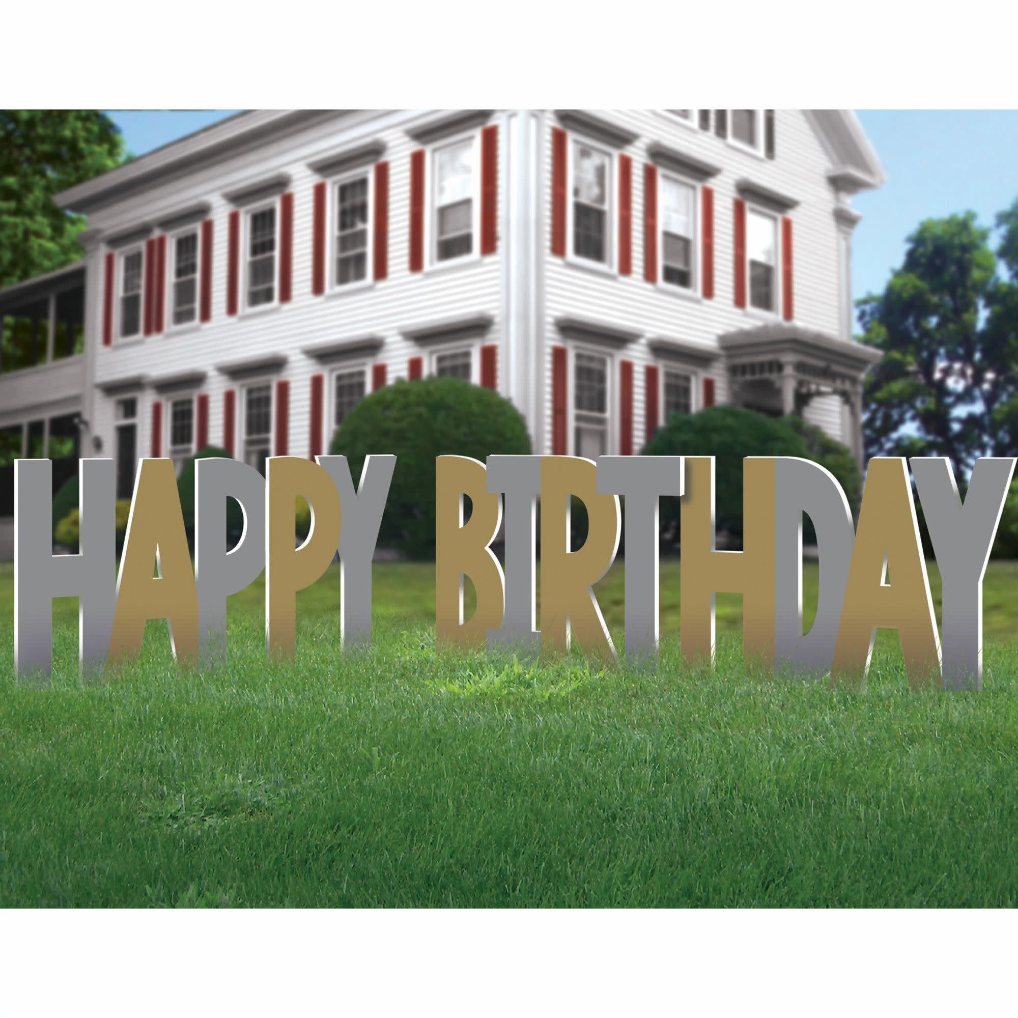 Birthday Accessories Silver & Gold Yard Sign