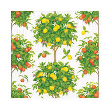Citrus Topiaries Paper Luncheon Napkins in White - 20 Per Package