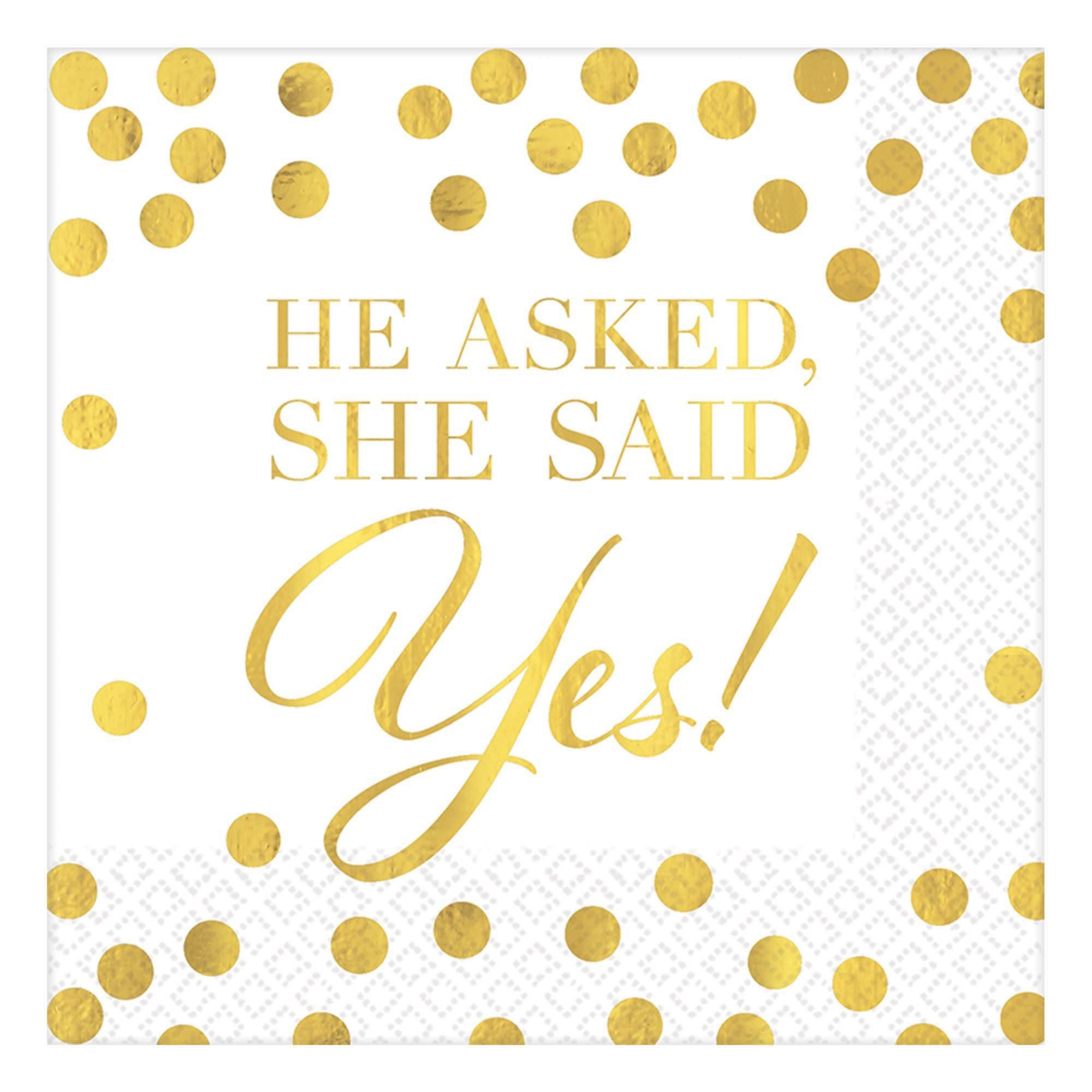 He Asked, She Said Yes Beverage Napkins- 16 Count