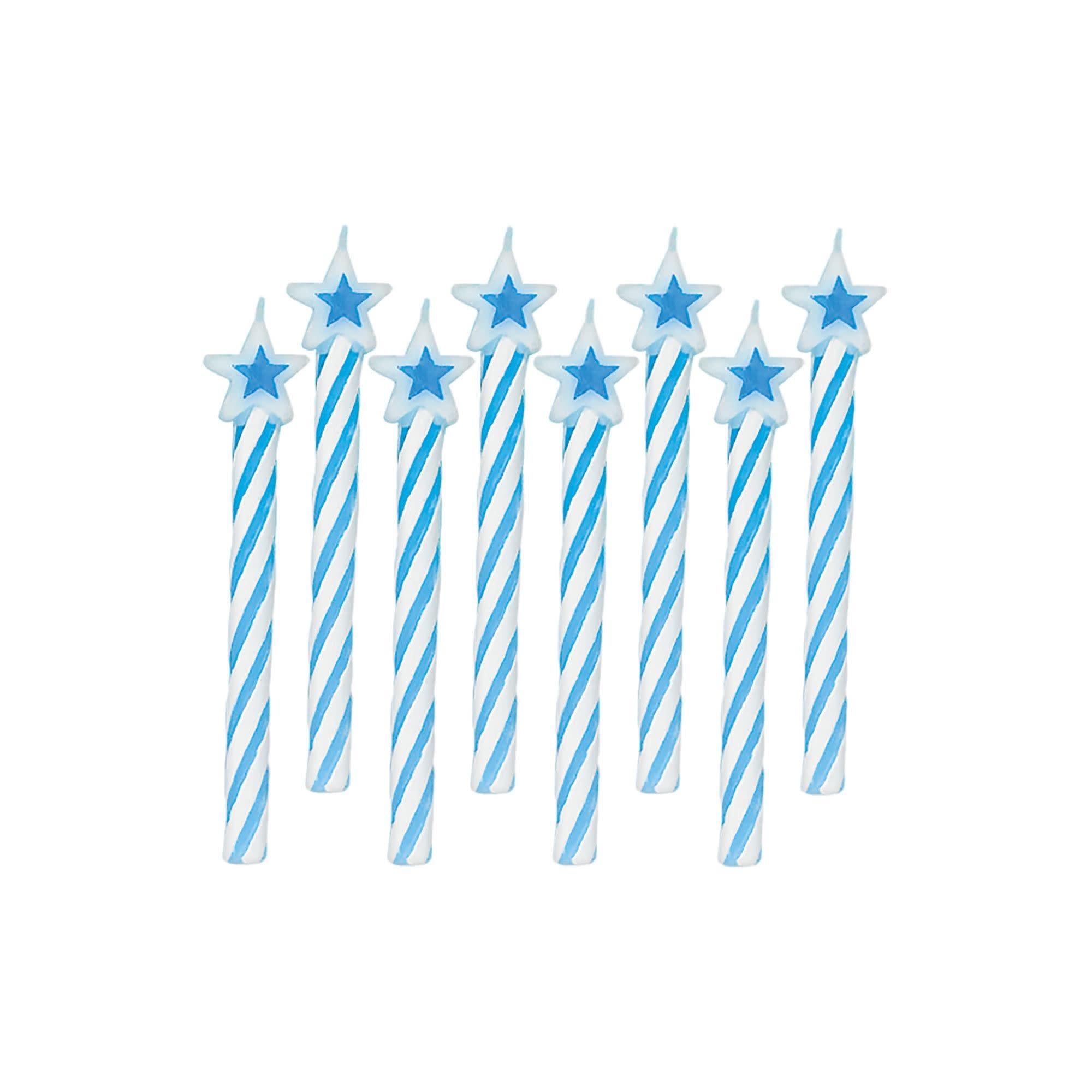 Spiral Candles W/Star Topper - Blue