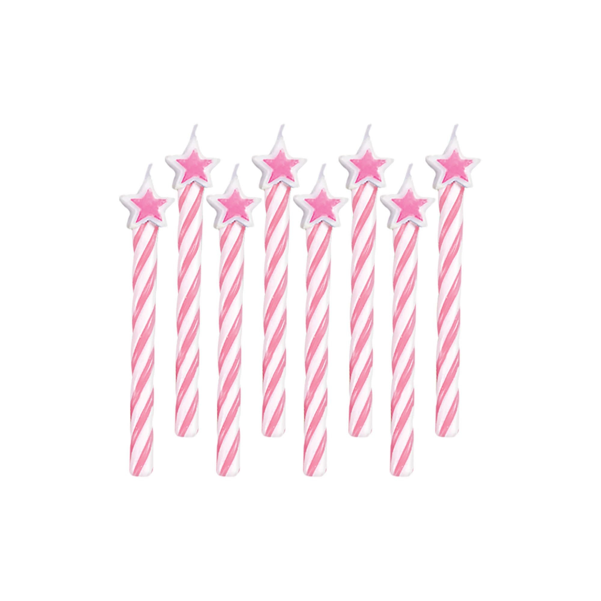Pink with Light Pink Stars Spiral Candles