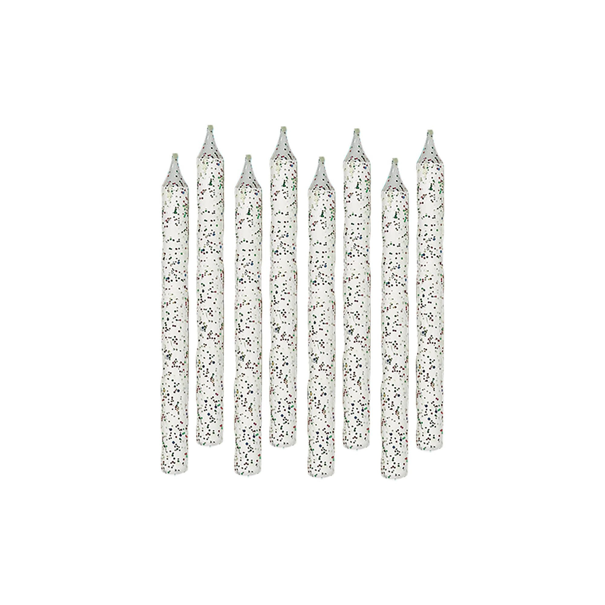 Large Glitter Spiral Candles - White