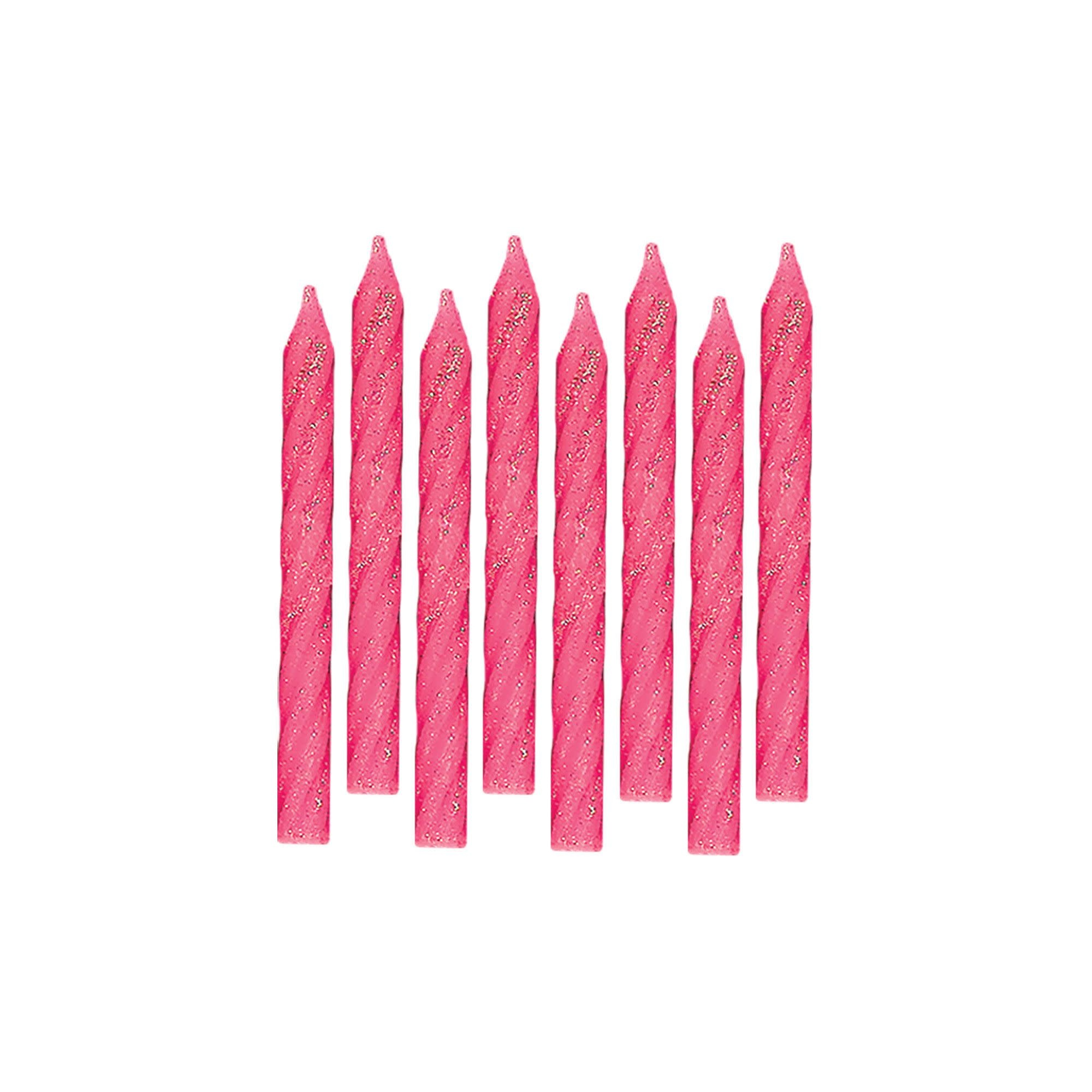 Large Glitter Spiral Candles - Pink