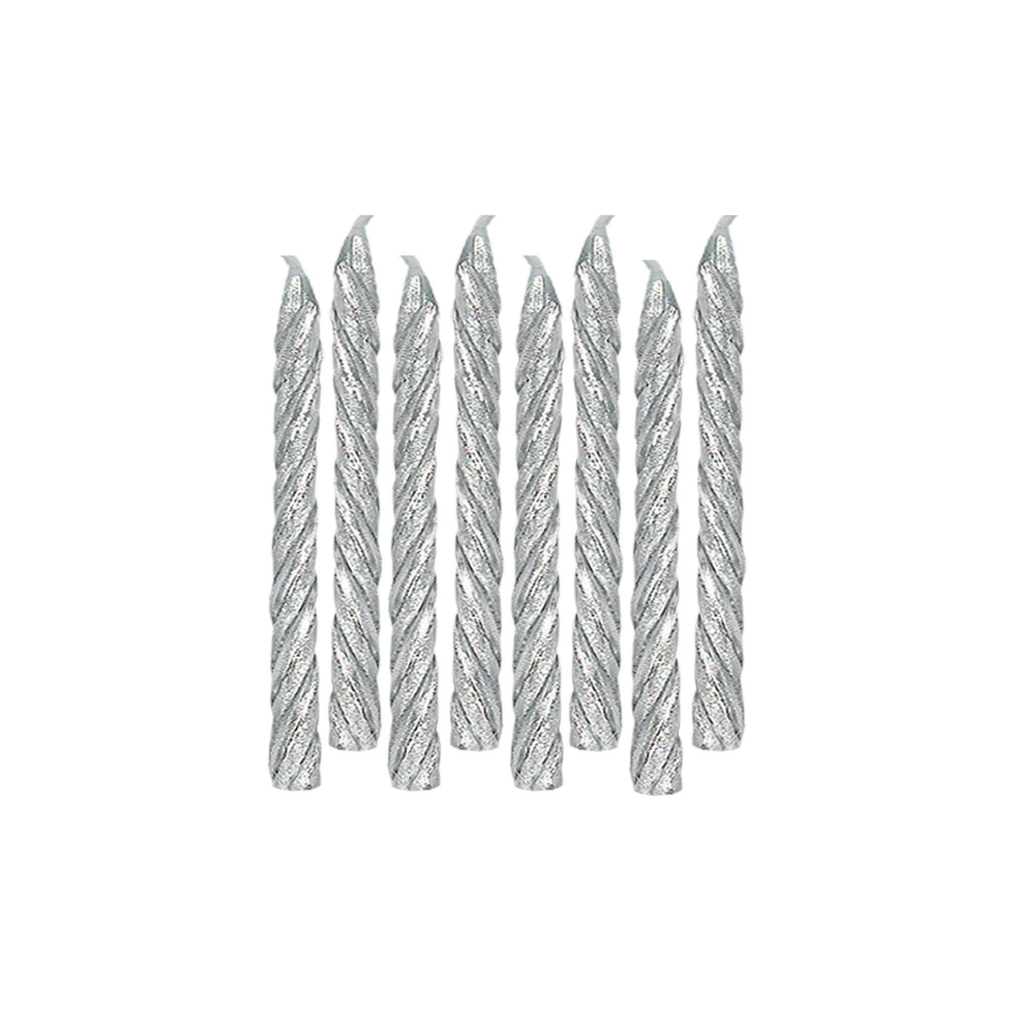 Large Spiral Candles - Silver