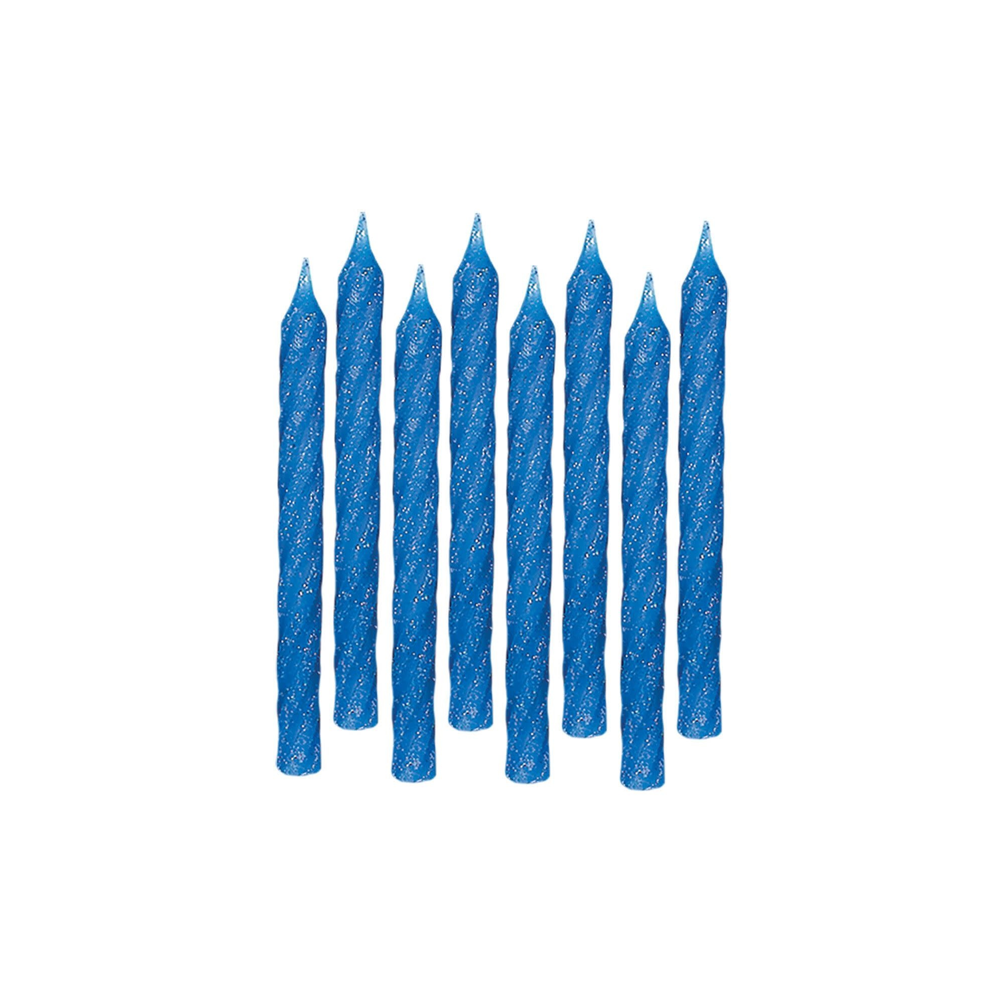 Large Glitter Spiral Candles - Blue
