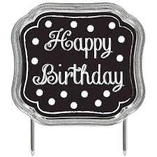 Cake Topper Happy Birthday Black and White