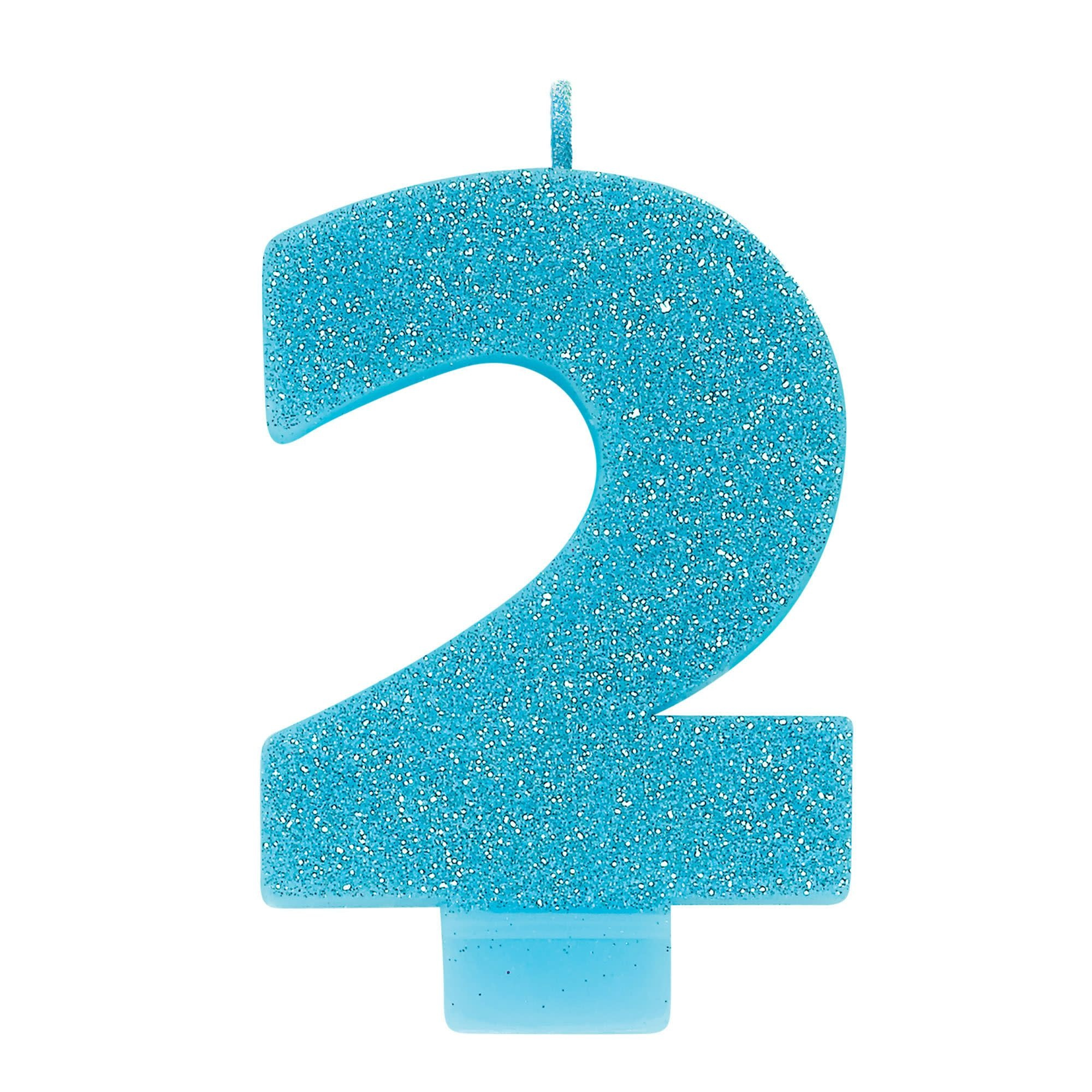 Numeral #2 Glitter Candle - Caribbean Blue