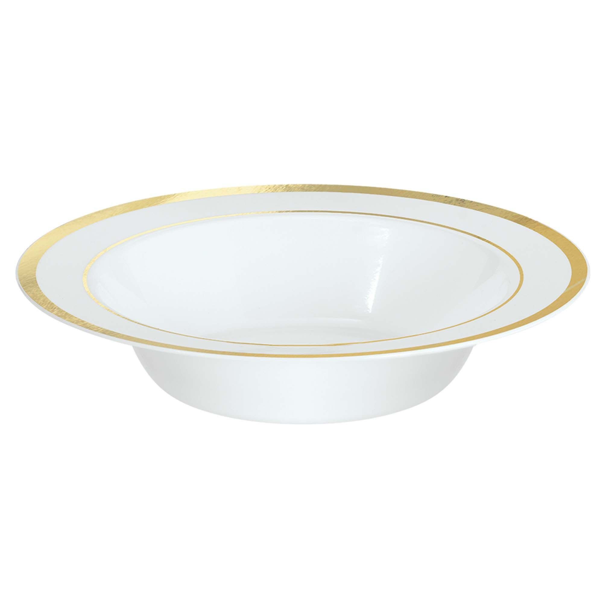 White Premium Plastic Bowls With Gold Trim, 12 Oz.