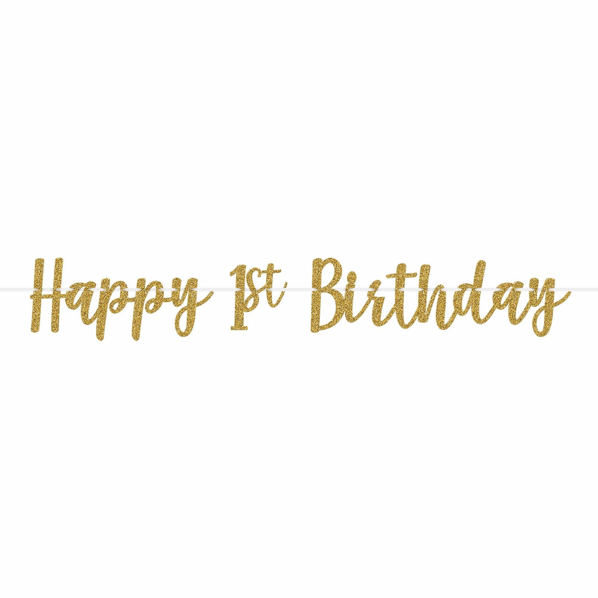 1st Birthday Glitter Ribbon Letter Banner