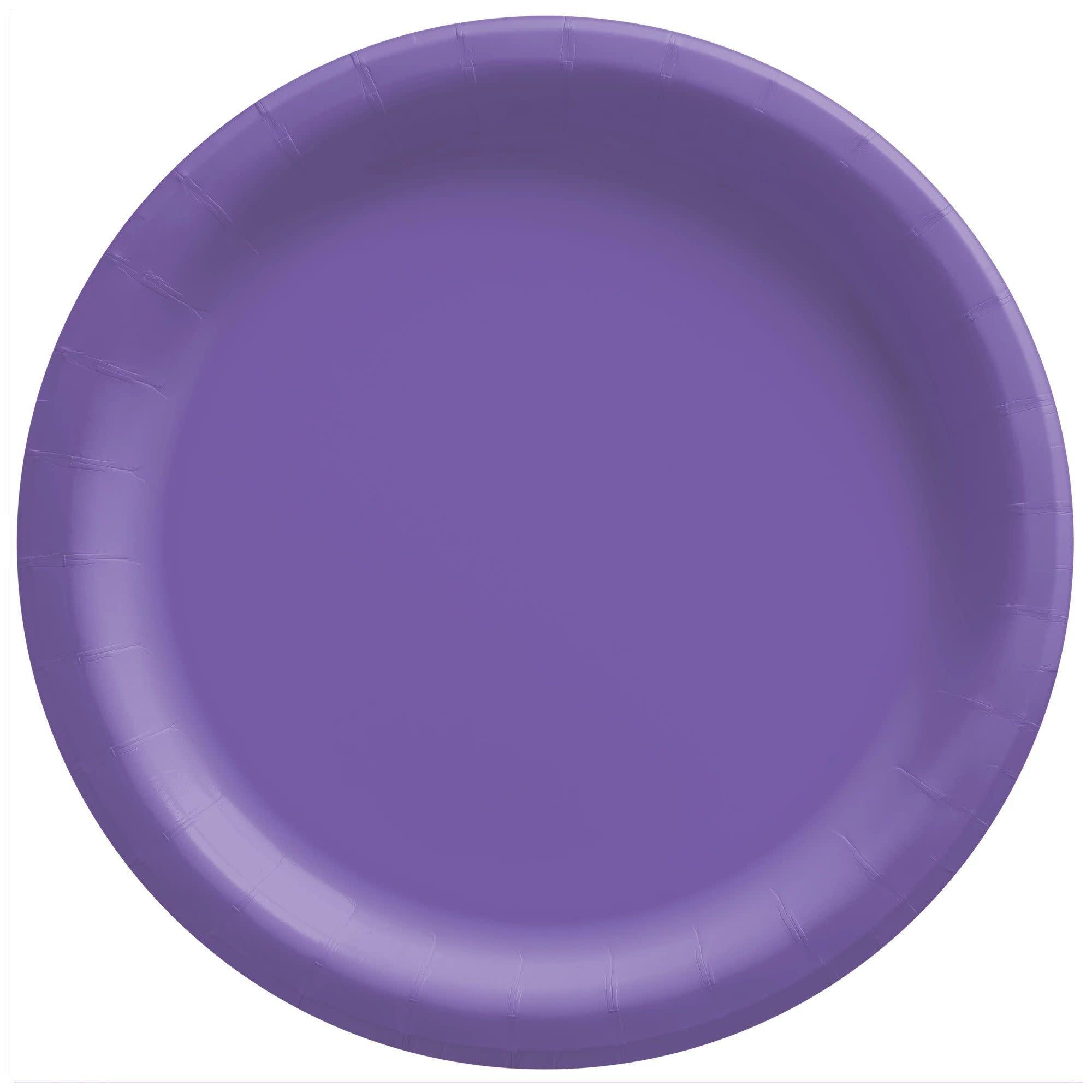 "8 1/2"" Round Paper Plates, Mid Ct. - New Purple"