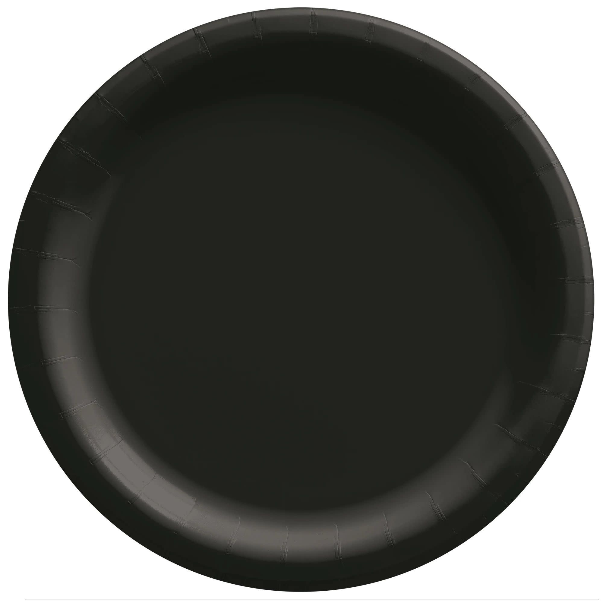 "6 3/4"" Round Paper Plates, Mid Ct. - Jet Black"