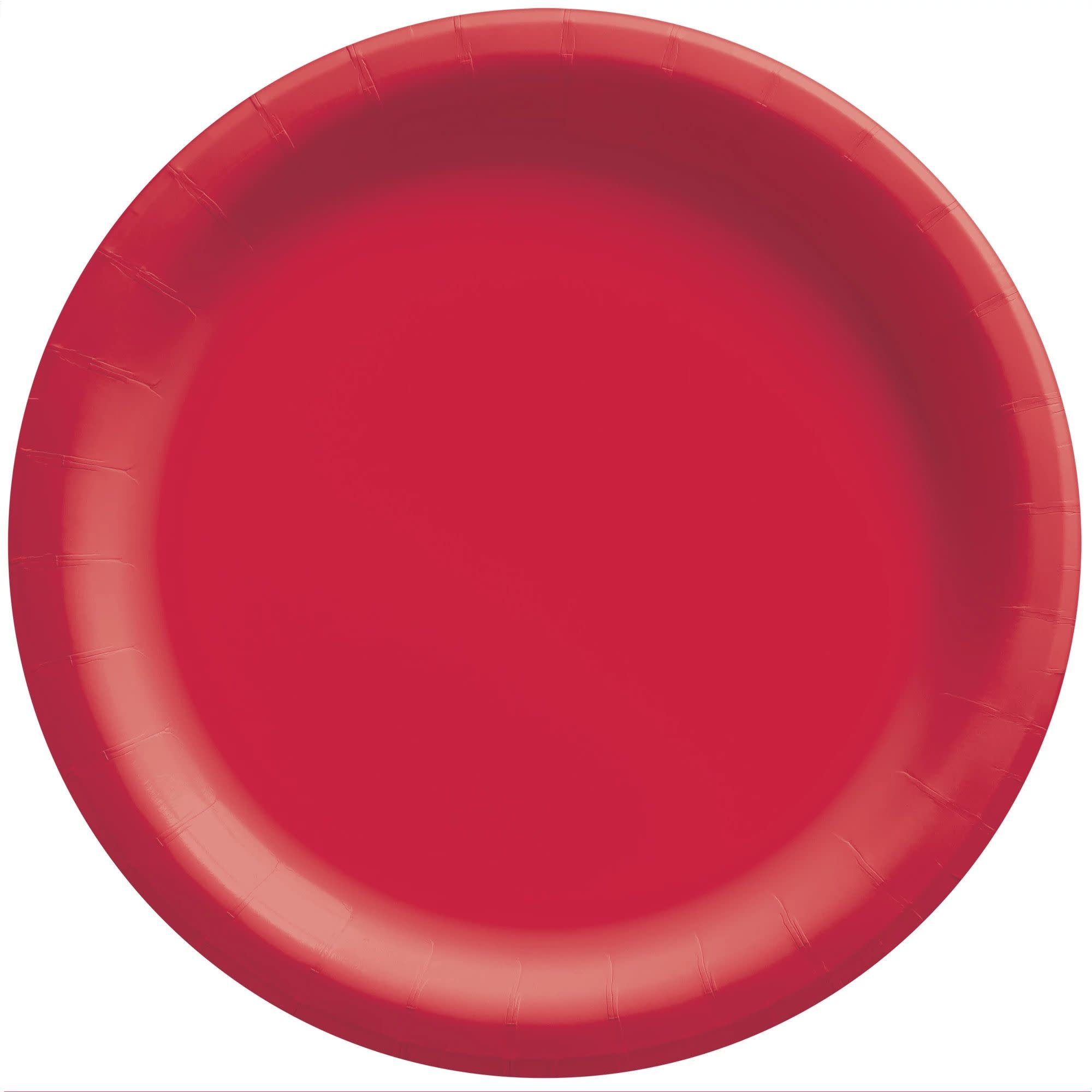 """8 1/2"""" Round Paper Plates, Mid Ct. - Apple Red"""