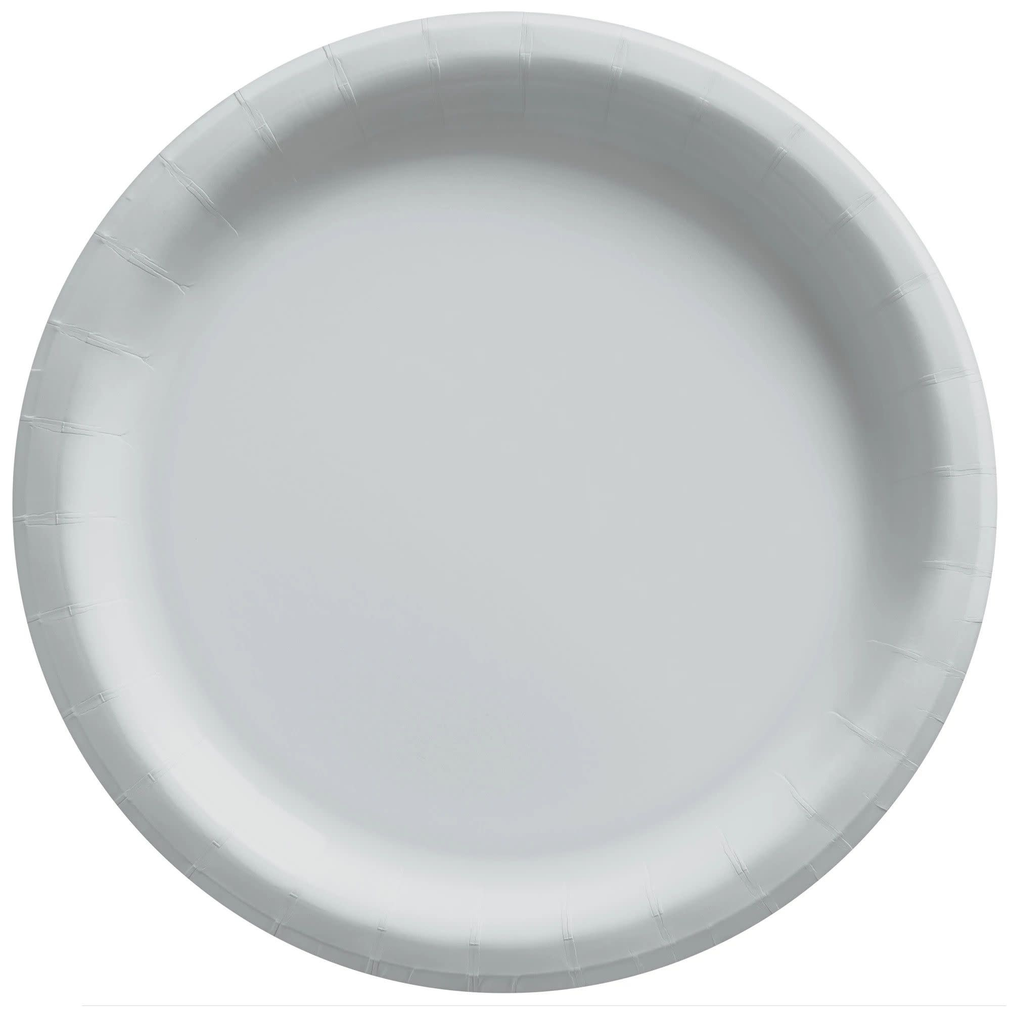"""10"""" Round Paper Plates, Mid Ct. - Silver"""