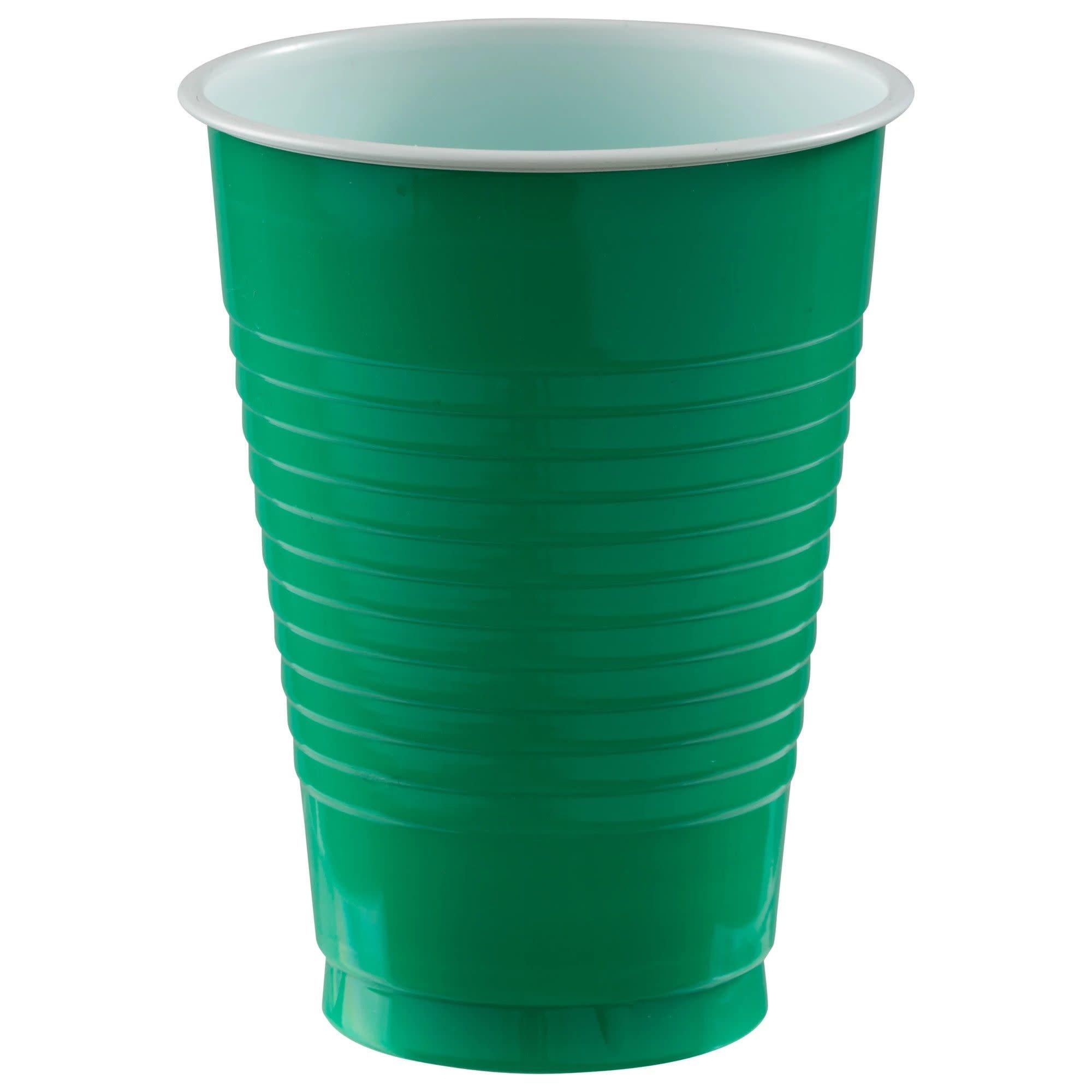 12 Oz. Plastic Cups, Mid Ct. - Festive Green