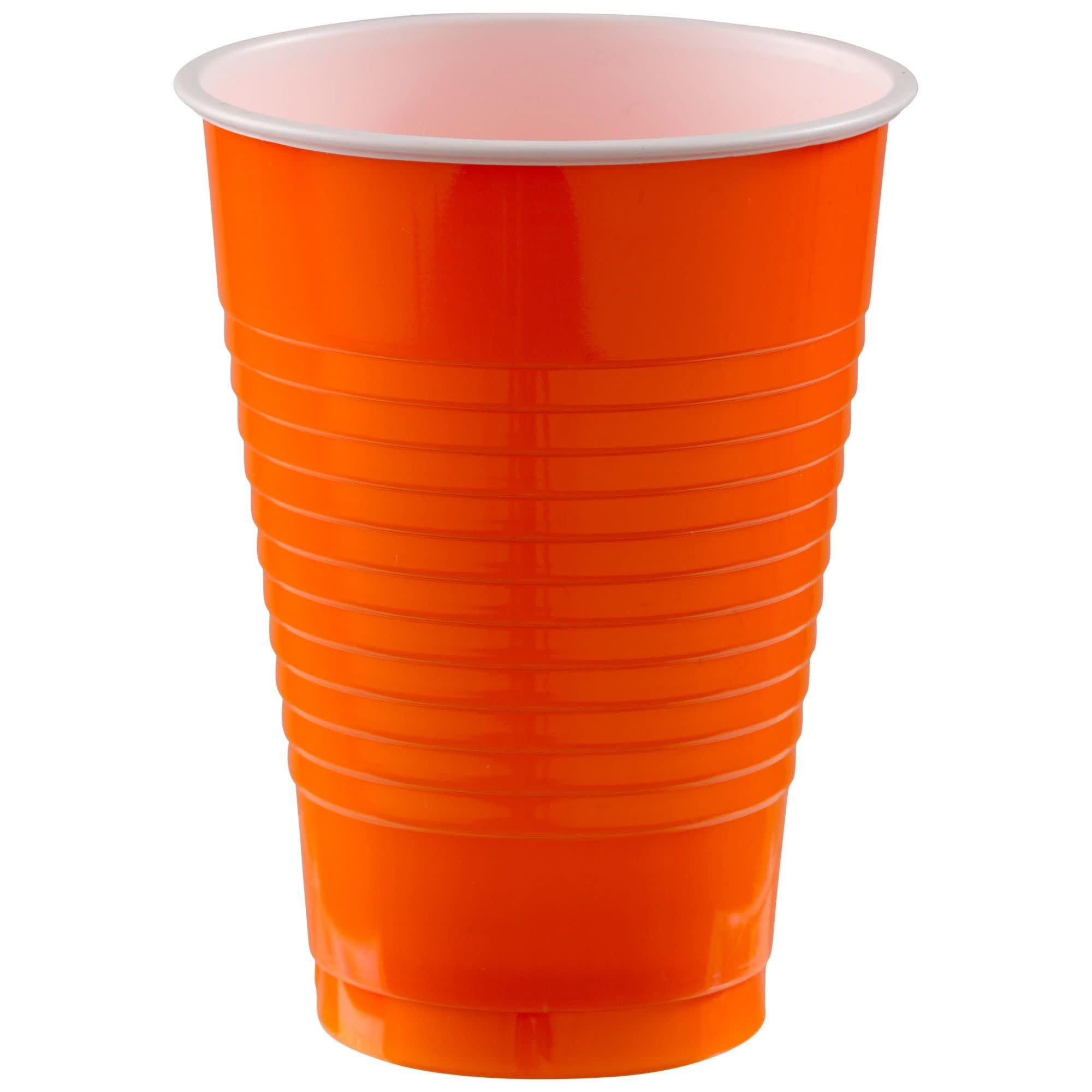 12 Oz. Plastic Cups, Mid Ct. - Orange Peel