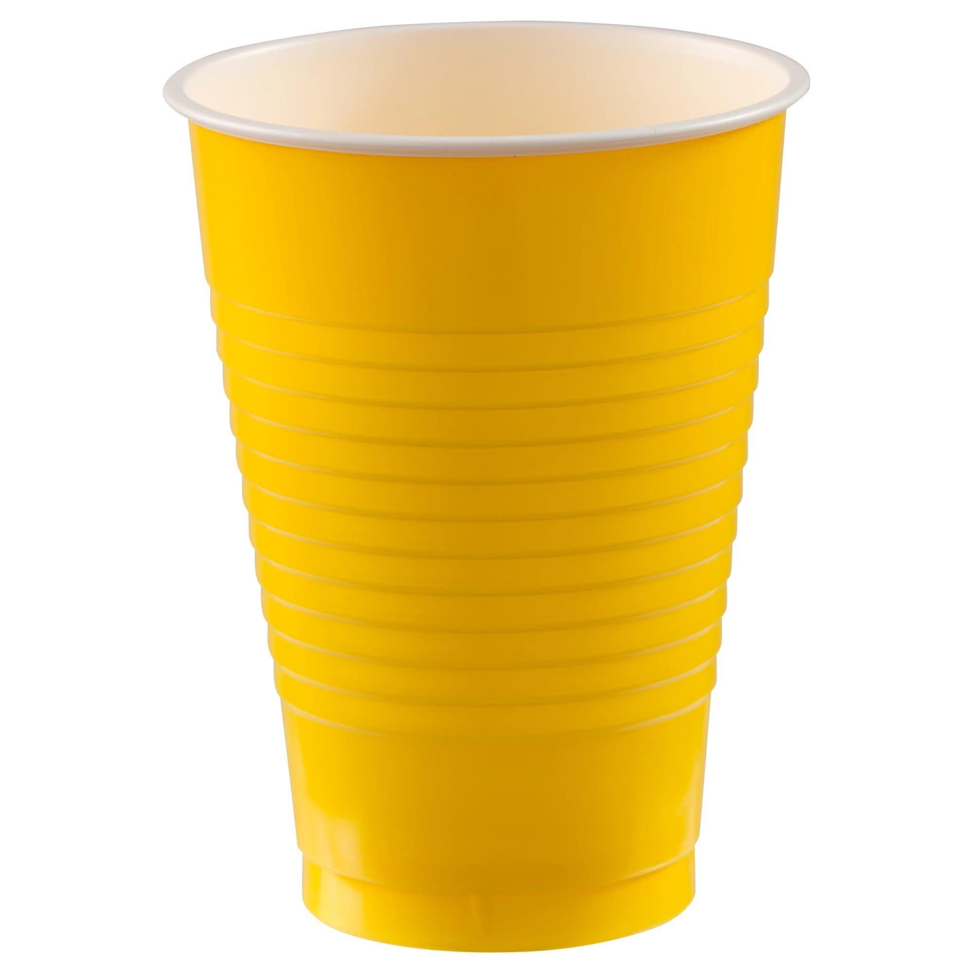 12 Oz. Plastic Cups, Mid Ct. - Yellow Sunshine