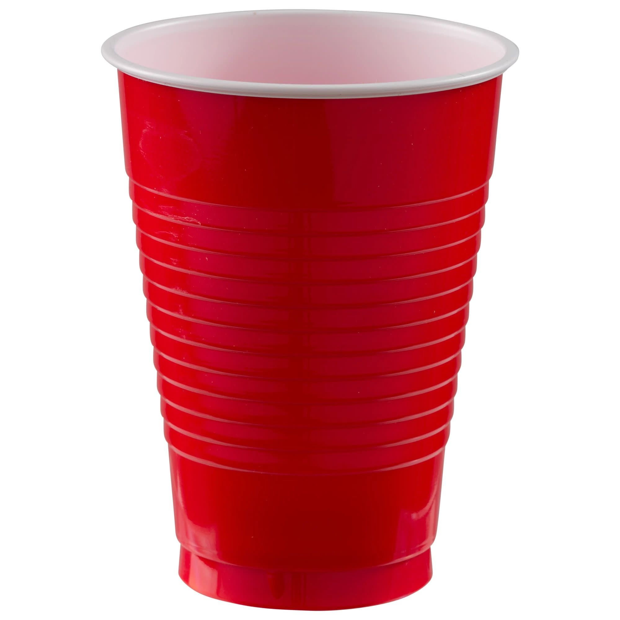 12 Oz. Plastic Cups, Mid Ct. - Apple Red