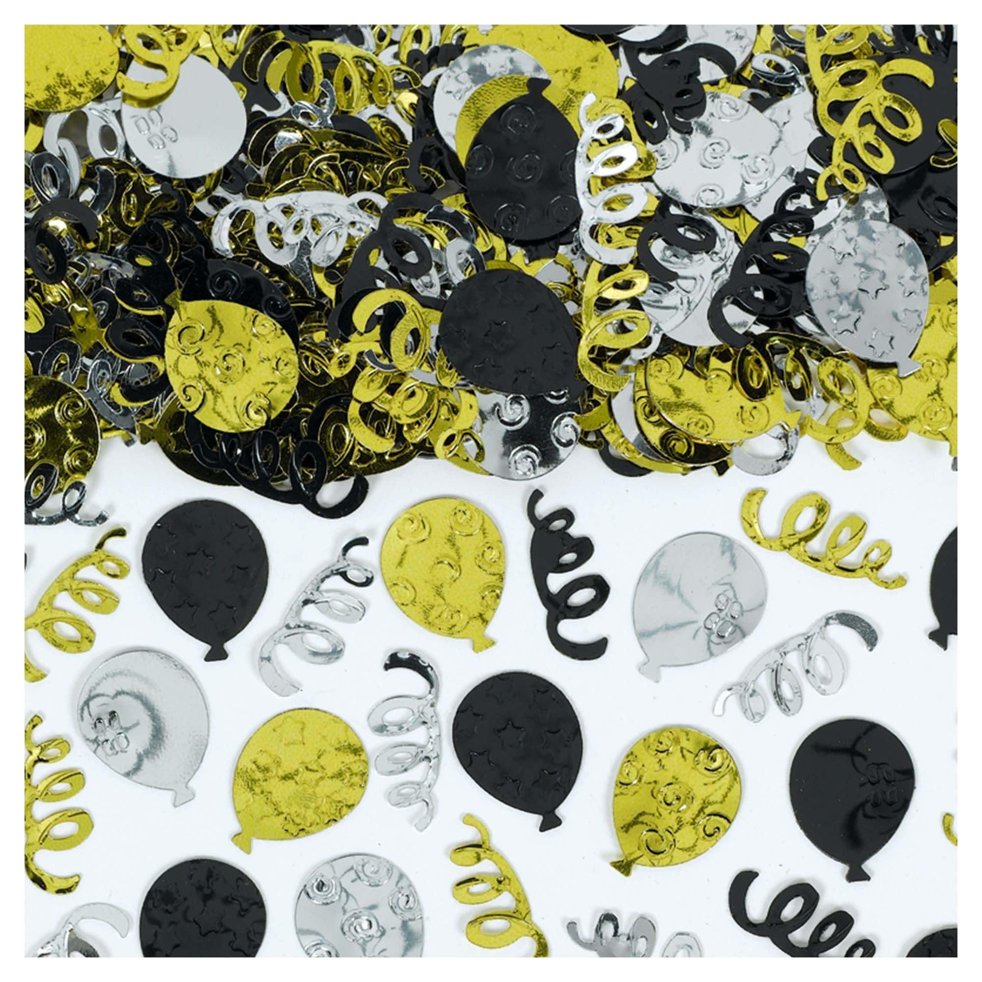 Black, Silver & Gold Party Balloons Confetti