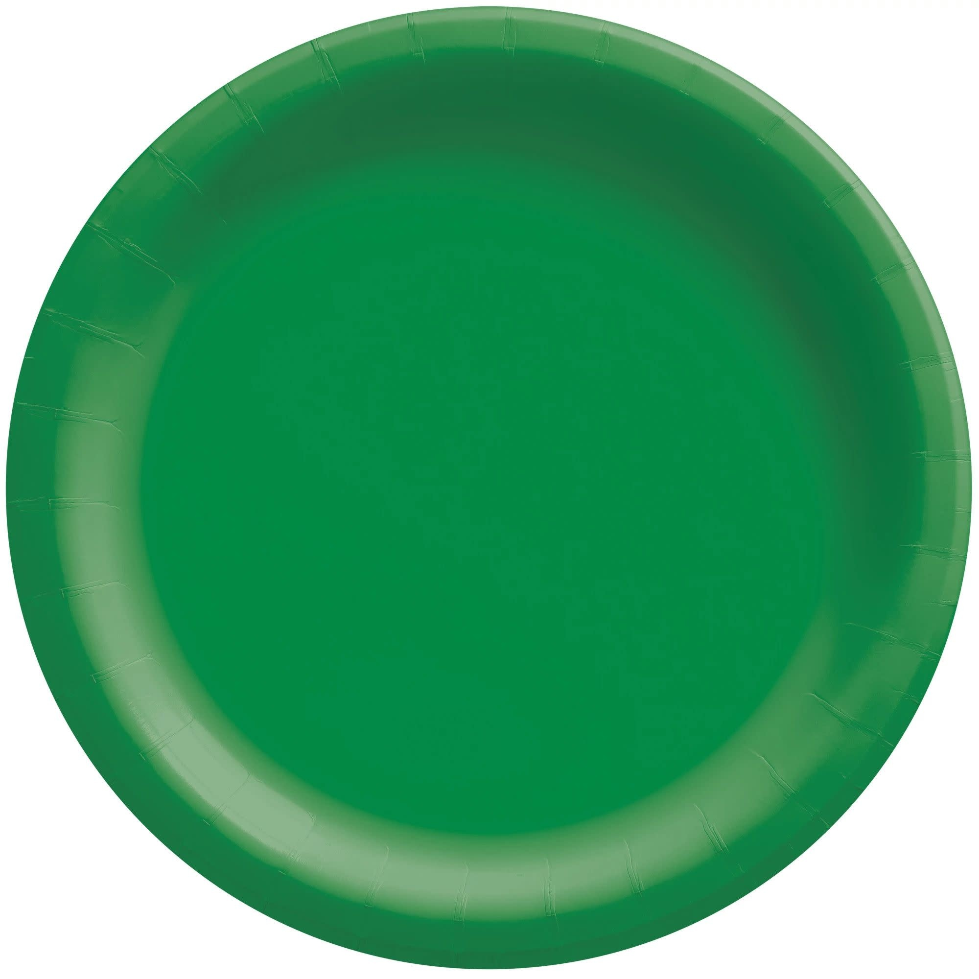 """6 3/4"""" Round Paper Plates, Mid Ct. - Festive Green"""