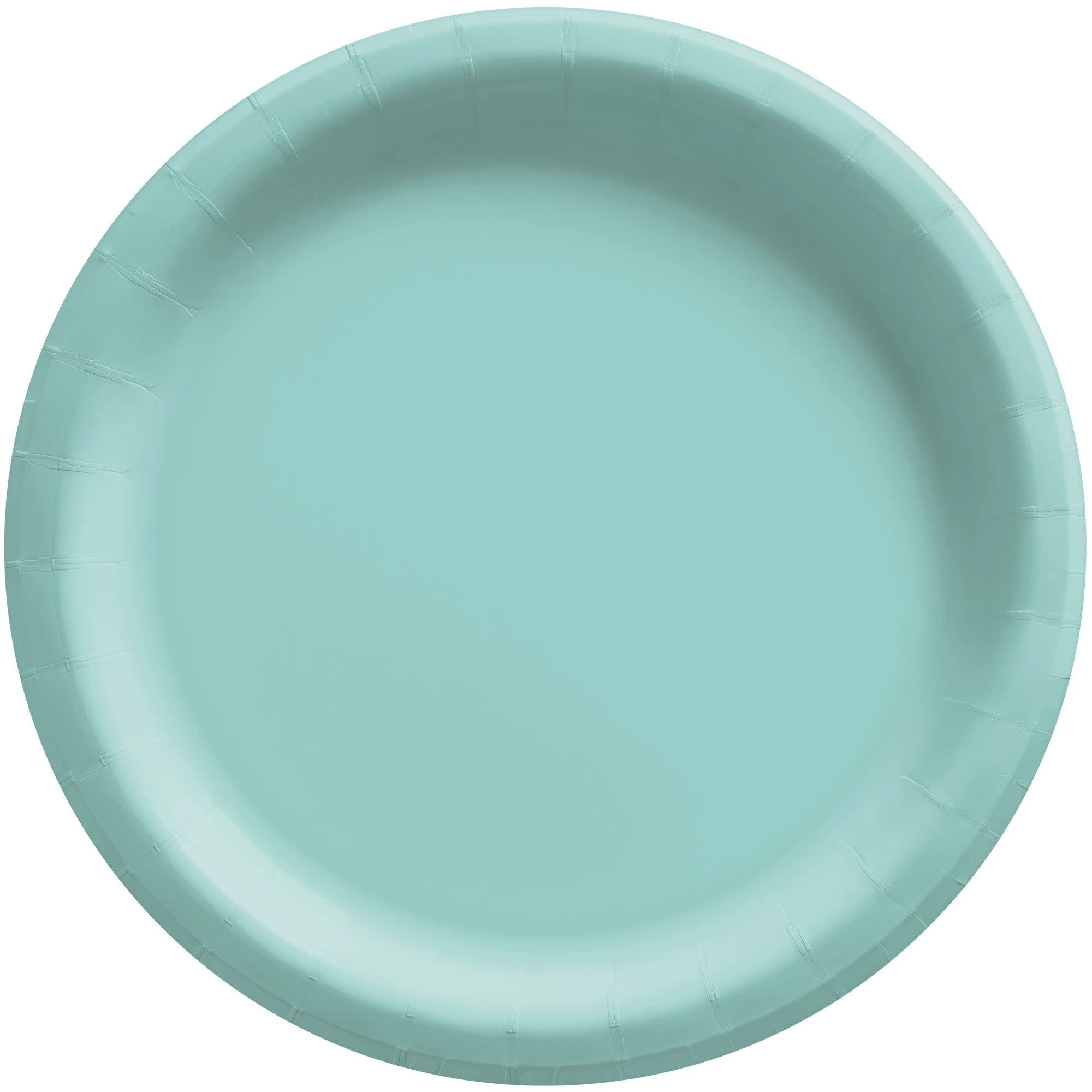"""6 3/4"""" Round Paper Plates, Mid Ct. - Robin's-Egg Blue"""