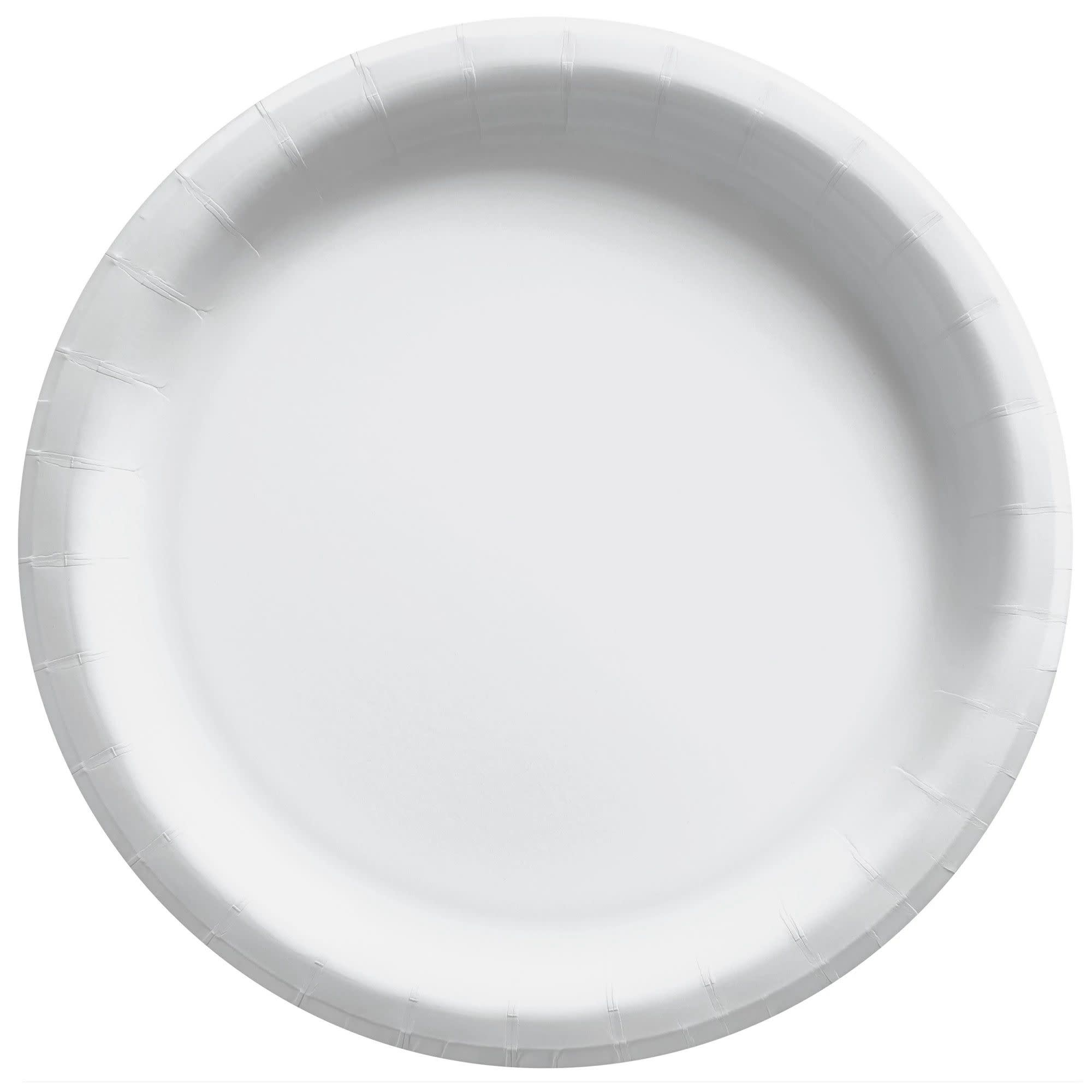 """8 1/2"""" Round Paper Plates, Mid Ct. - Frosty White"""
