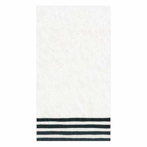 Border Stripe Paper Guest Towel Napkins in Black & White - 15 Per Package