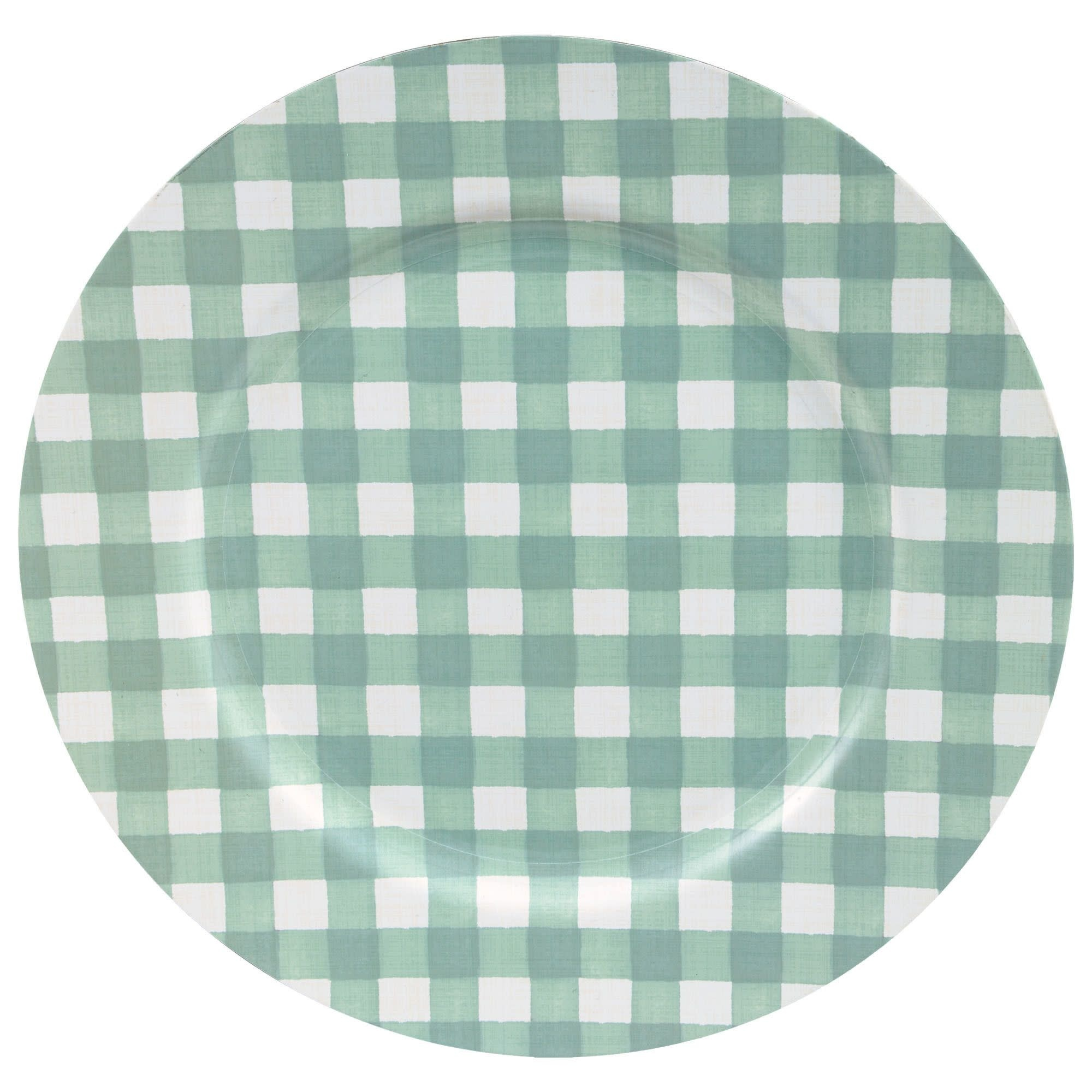"""Round Charger Autumn Checker Plate - 13"""""""