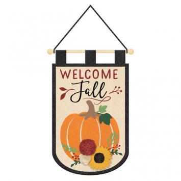 3D Felt Welcome Fall Hanging Sign