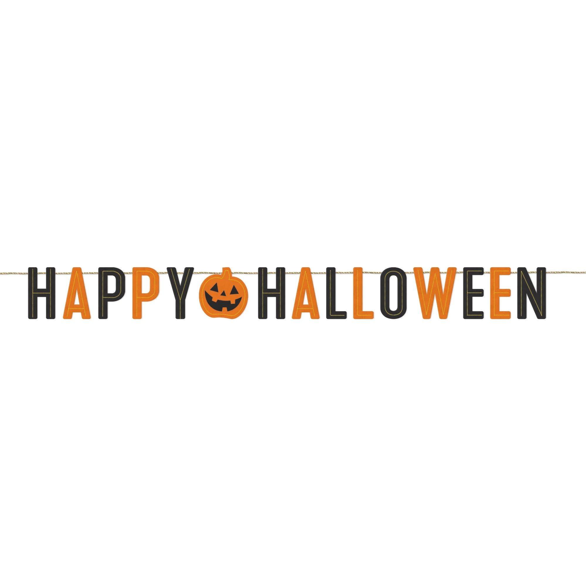 Classic Orange & Black Halloween Felt Banner