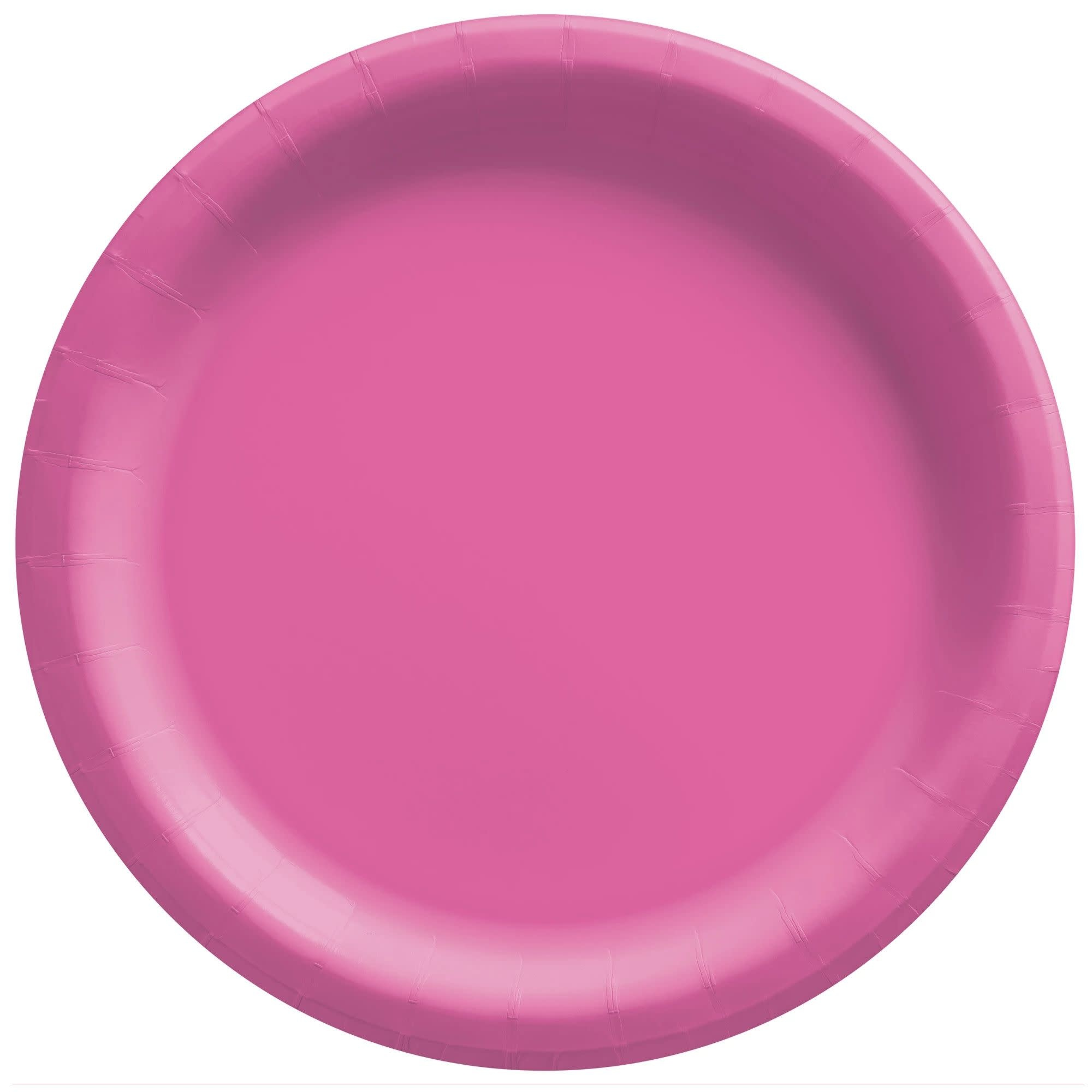 """10"""" Round Paper Plates, Mid Ct. - Bright Pink"""