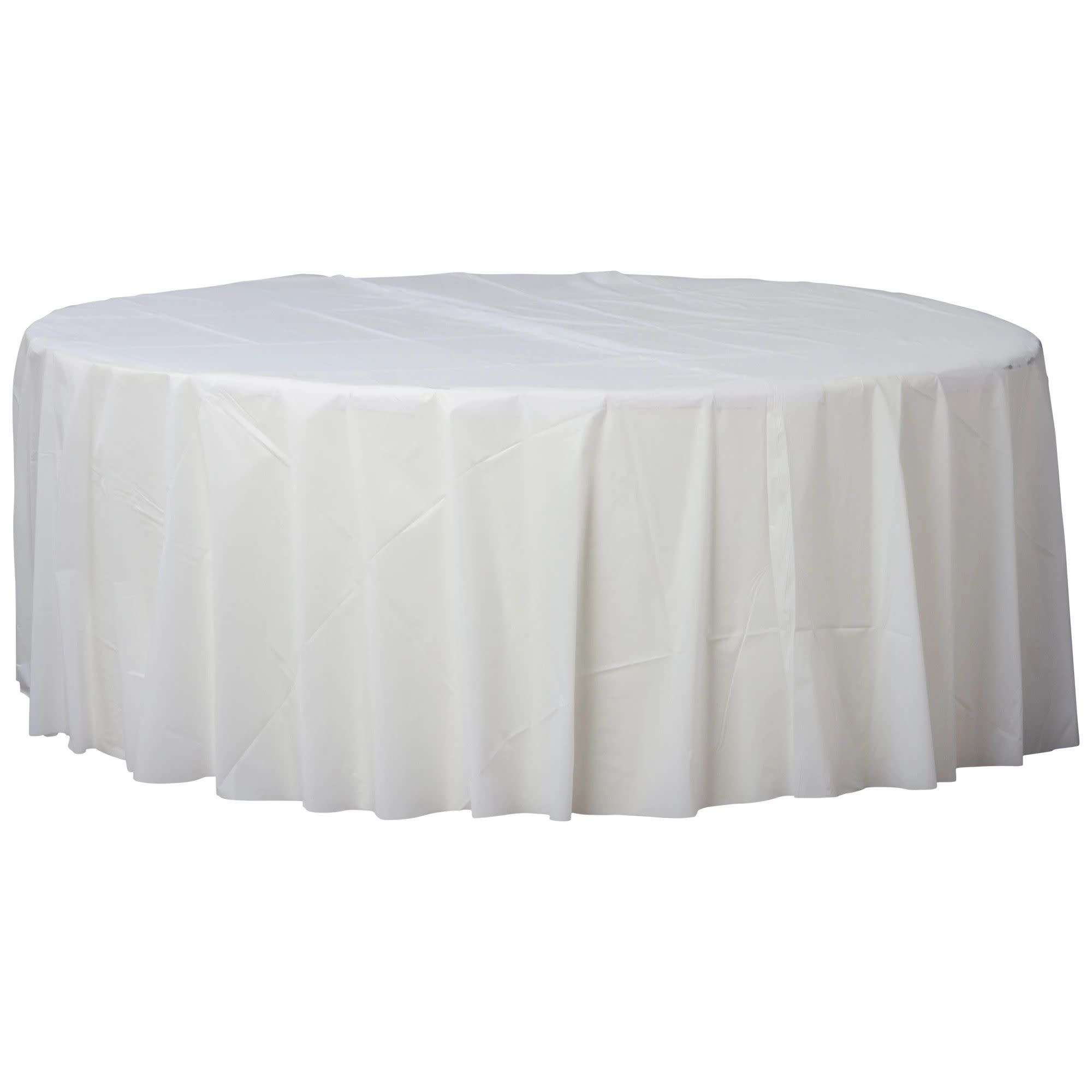 """84"""" Round Plastic Table Cover- Frosty White"""