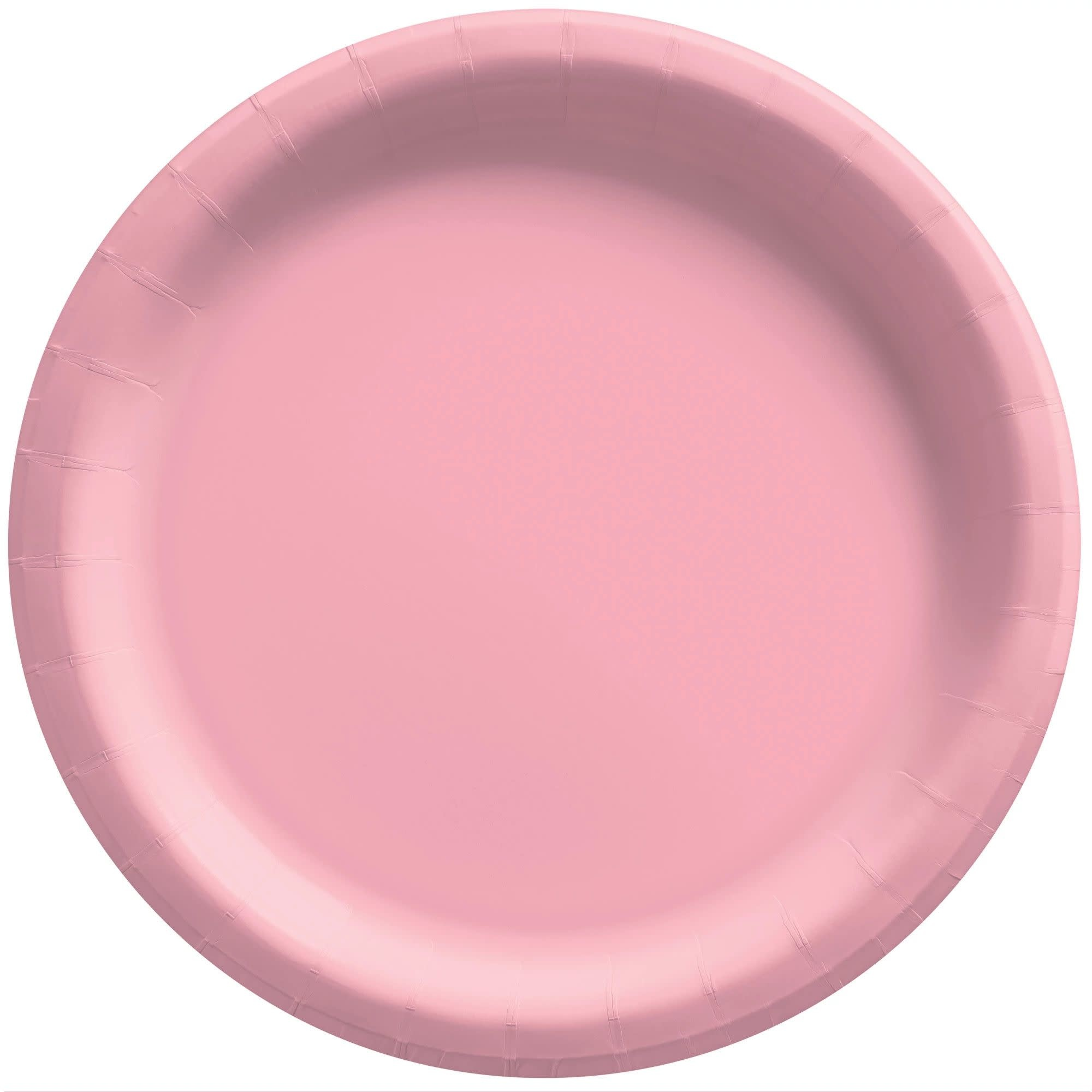 """6 3/4"""" Round Paper Plates, Mid Ct. - New Pink"""