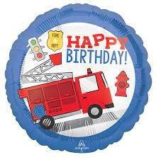 "18"" Mylar Happy Birthday Fire Truck  - #46"