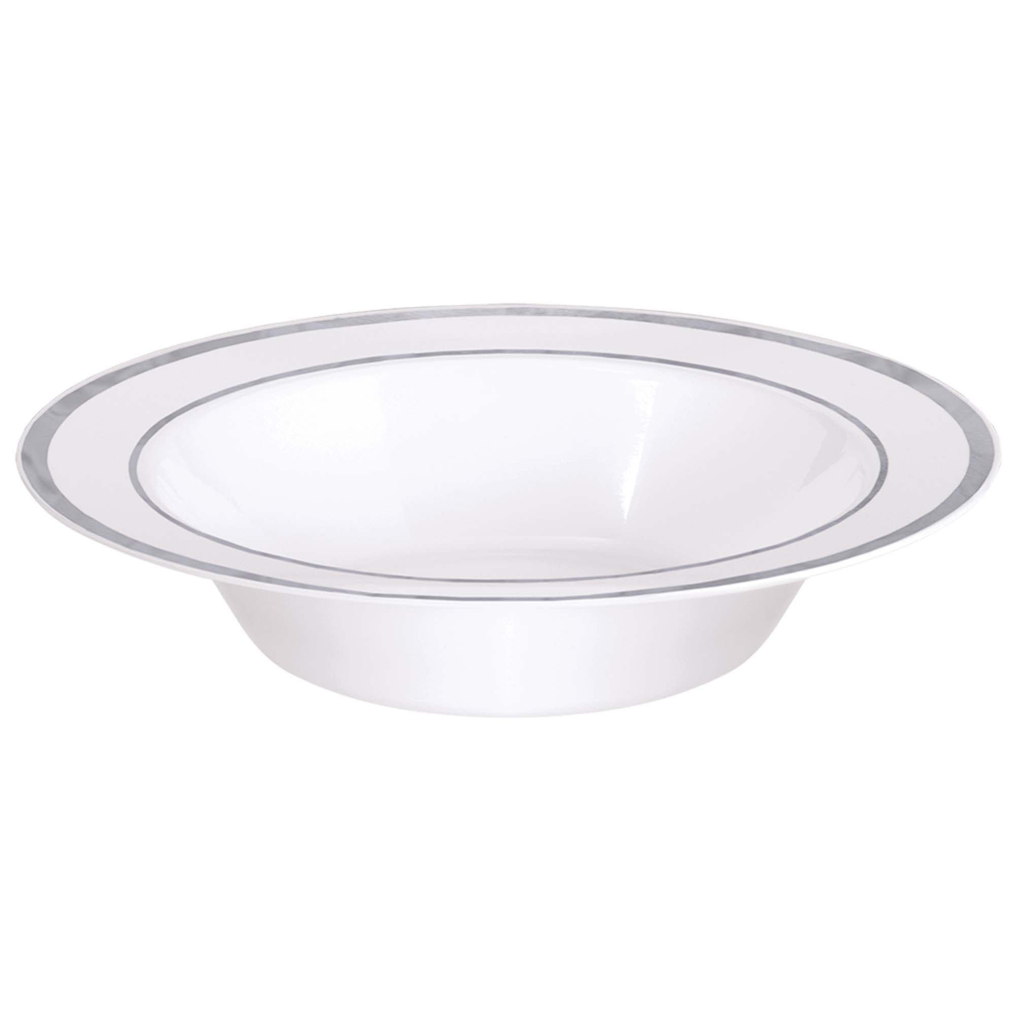 White Premium Plastic Bowls With Silver Trim, 12 Oz.
