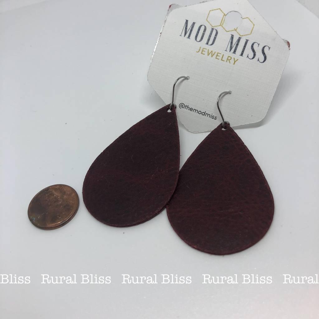Merlot Leather Teardrop Earrings