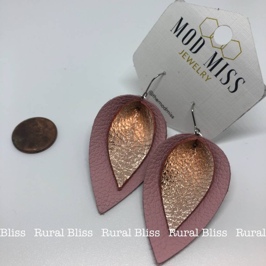 Rose Gold on Blush Petal Leather Earrings