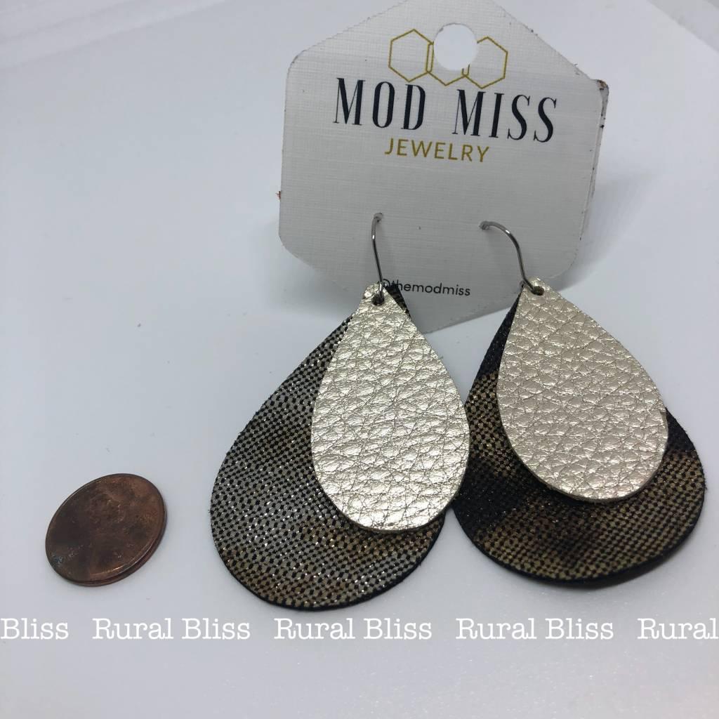 Pearl on Ember Teardrop Leather Earrings