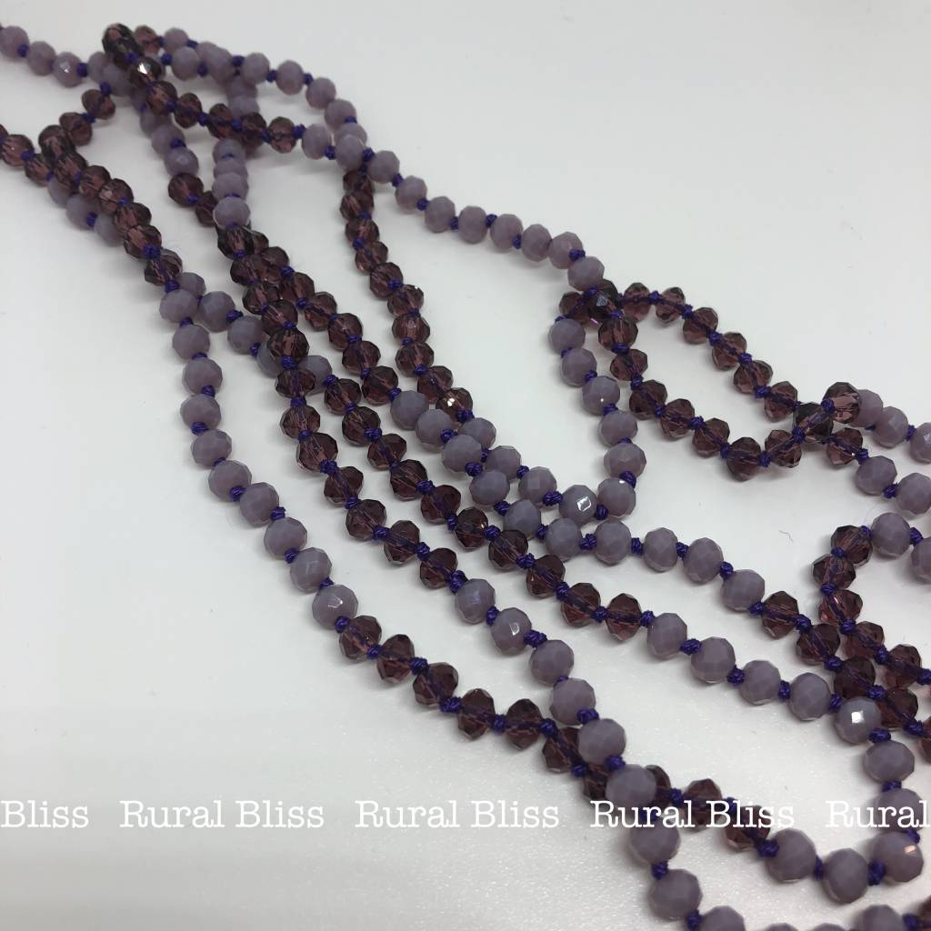 Must Have Mini Beaded Long Necklace Dark/Light Purple