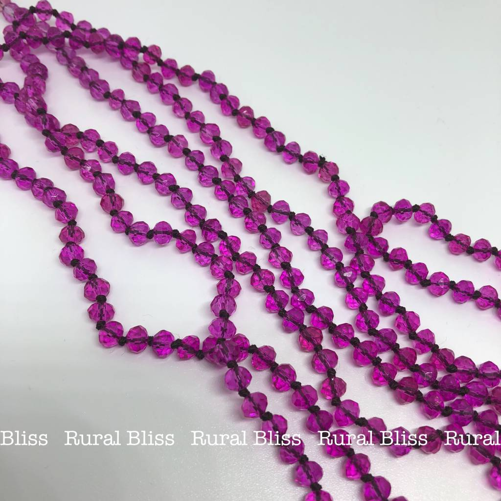 Must Have Mini Beaded Long Necklace Hot Pink