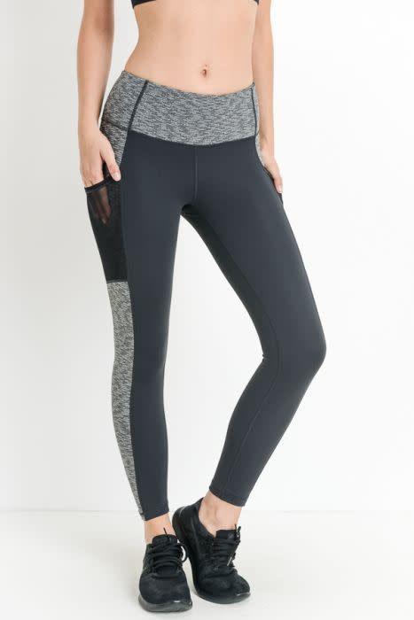 Colorblock Grey Pocket Leggings