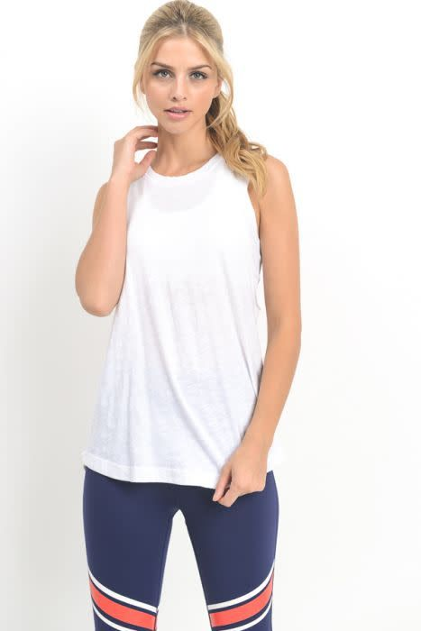 Ladder Back Muscle Tee White
