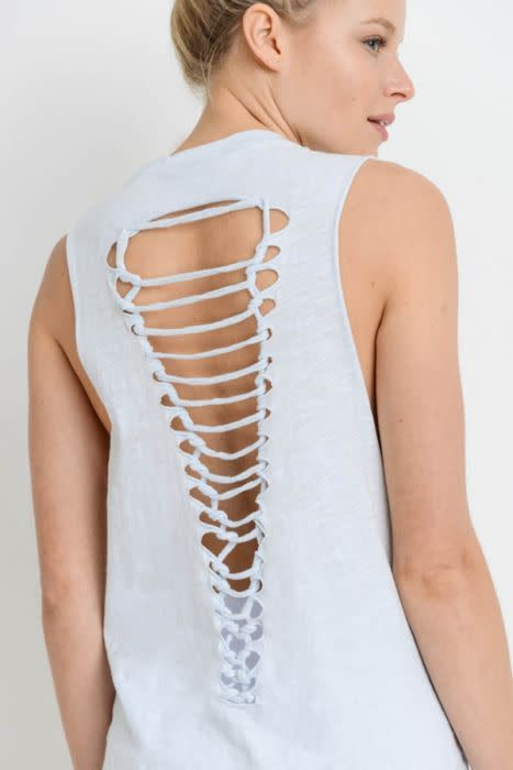 Ladder Back Muscle Tee Sky Blue