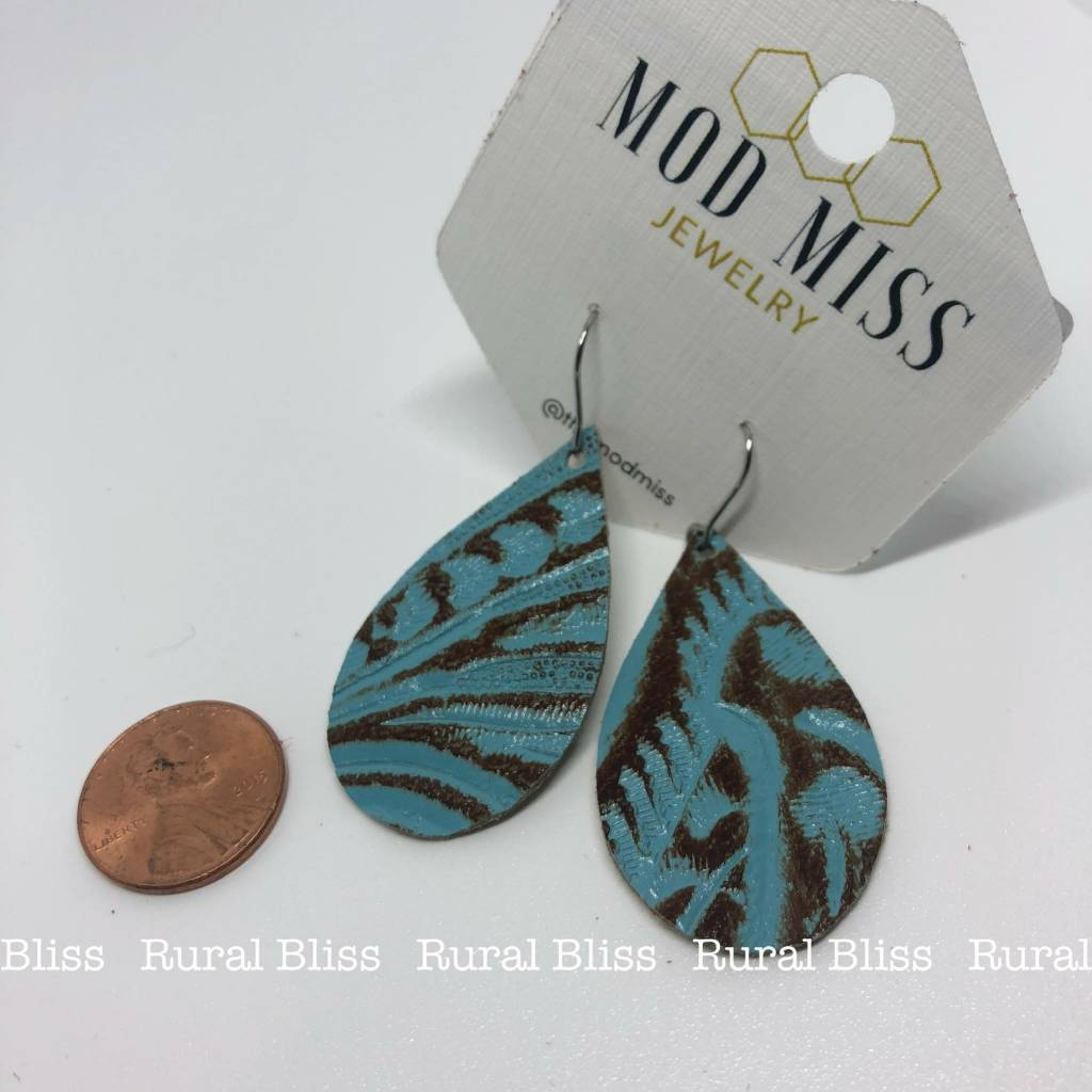 Mini Western Turquoise Floral Teardrop Leather Earrings
