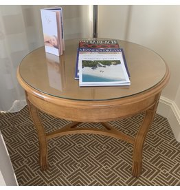 Waldorf Astoria WALDORF-Oak Round Accent Table W/Glass Top