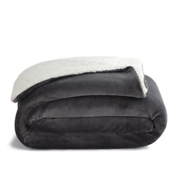 Woven WK6080 Queen Sherpa Blanket Gray