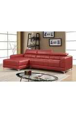 Samuel 1014-Red Sectional W/Ottoman