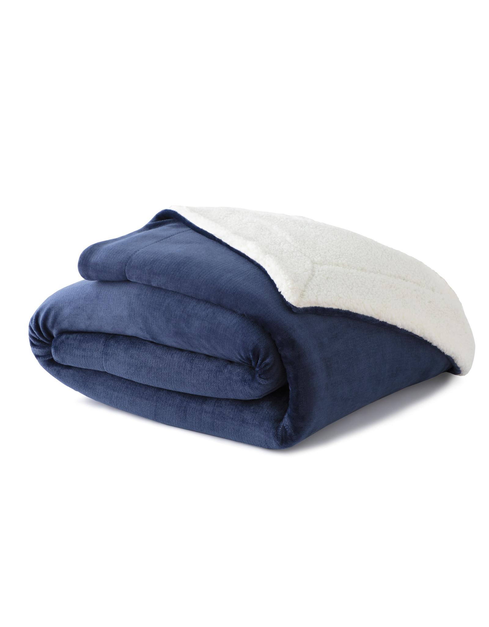 Woven WK5060 Throw Sherpa Blanket Blue