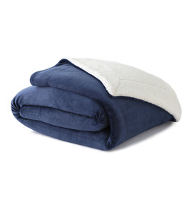 Woven WK5060 Throw Sherpa Blanket Blue