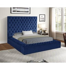 Jake JA8021 Blue King Bed W/Storage Footboard